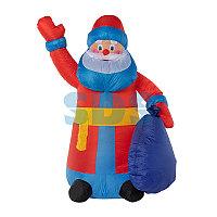 """3D фигура надувная """"Дед мороз с подарком"""", размер 180 см, внутренняя подсветка 2 LED, компрессор с"""