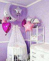 Оформление комнаты на выписку из роддома Звездочками и Луной из шаров