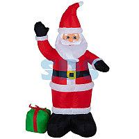 """3D фигура надувная """"Дед Мороз с подарком"""", размер 120 см, внутренняя подсветка 3 LED, компрессор с"""