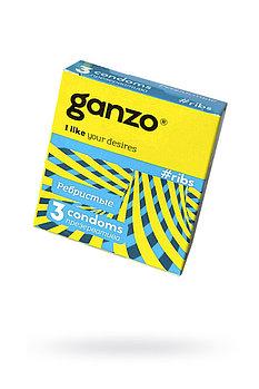 Презервативы GANZO RIBS, с Ребристой Поверхностью, 18 СМ, 3 ШТ