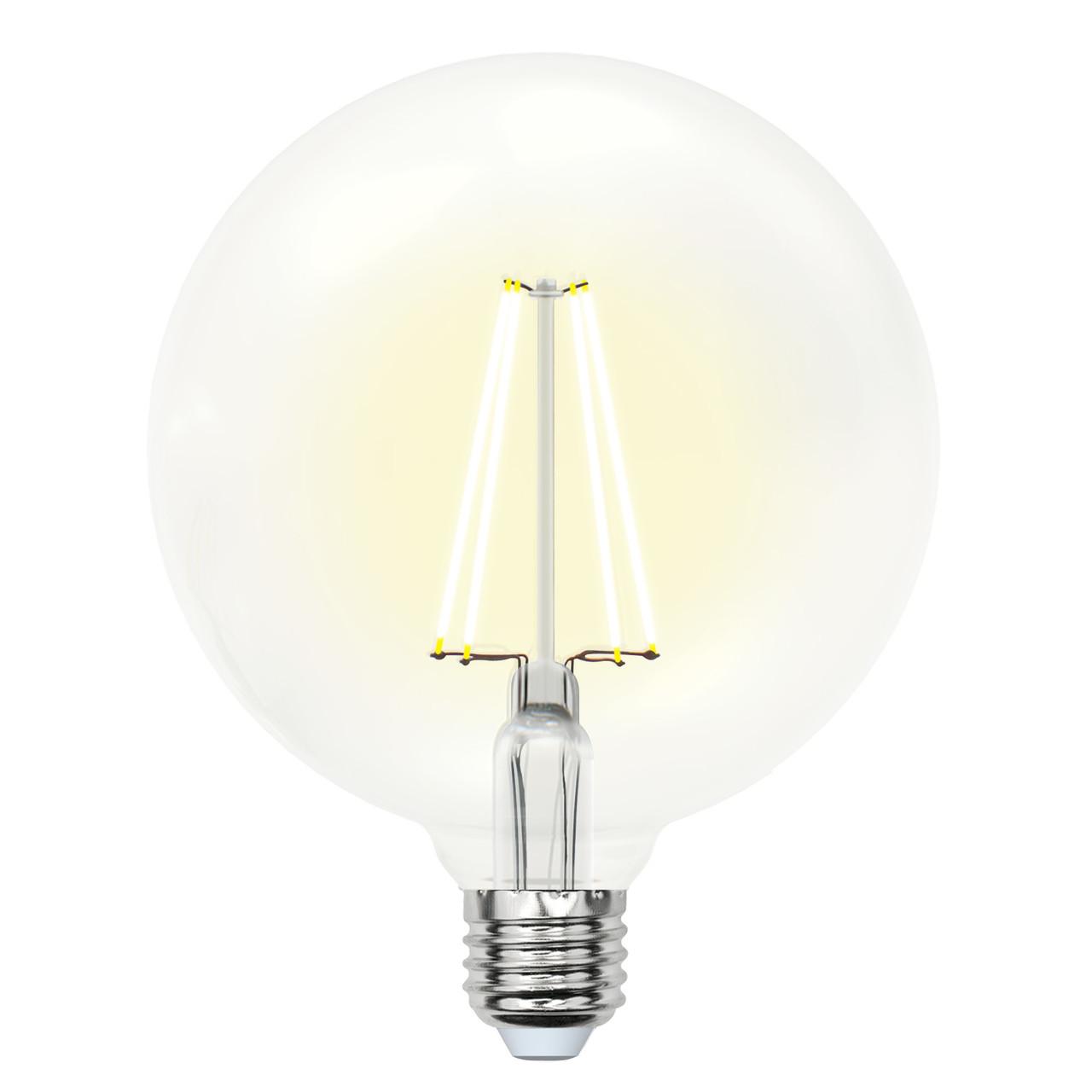 Лампа светодиодная VINTAGE LED-G125/10W/WW/E27/CL PLS02WH форма шар прозр. колба цвет свеч.теплый