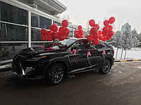 Оформление автомобиля шарами и бантами для машины ( 50 шариков + 10 бантов)
