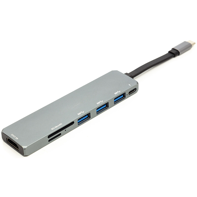 Переходник PowerPlant USB 3.1 Type-C - USB Hub, HDMI, Card Reader (SD, micro SD)