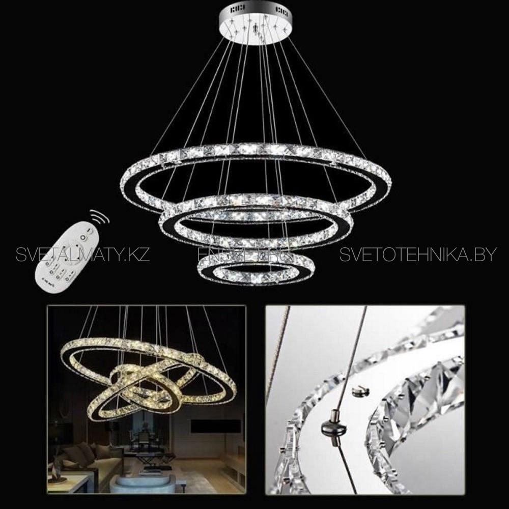 Хрустальная люстра потолочная подвесная LED 80+60+40см - фото 2