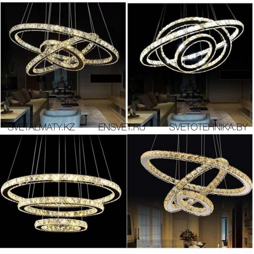 Хрустальная люстра потолочная подвесная LED 80+60+40см - фото 5
