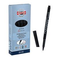 Маркер перманентный Koh-I-Noor 4202, 2.0 мм, круглый, черный (комплект из 12 шт.)