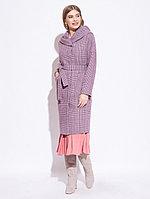 Пальто демисезонное, шерсть, 44-52, цвет лиловый, шотландская клетка