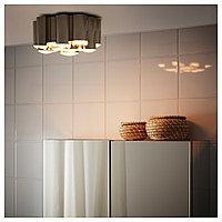 СЁДЕРСВИК Светодиодный потолочный светильник, светло-серый/хромированный