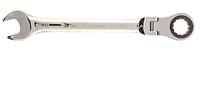 Ключ комбинированный трещоточный, 30 мм, CrV, шарнирный, зерк.хром// Matrix
