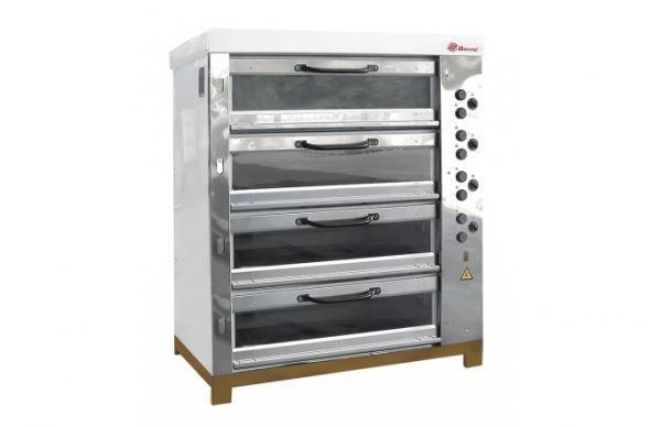 Хлебопекарная ярусная печь ХПЭ-750/4C (со стеклянными дверьми) в обрешетке
