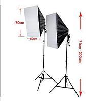 2 софтбокса 50 см × 70 см на стойках с LED лампой по 40W. итого 80Ватт