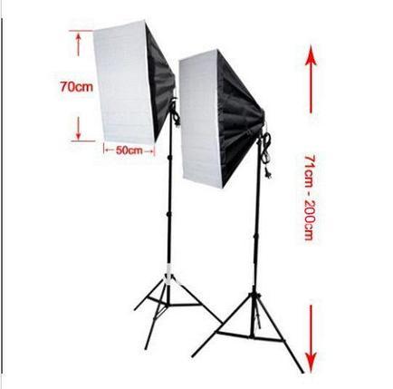 2 софтбокса 50 см × 70 см на стойках с LED лампой по 40W. итого 80Ватт, фото 2