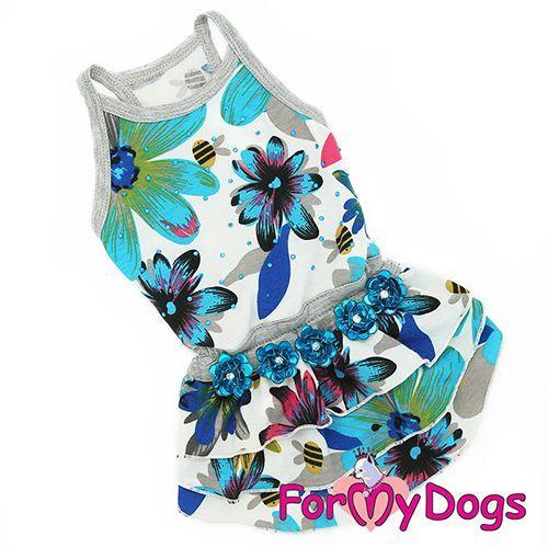 """Платье ForMyDogs """"Цветы"""" для собак (Голубой) - 12 р"""