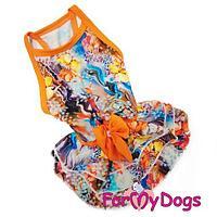 Платье с бантом ForMyDogs для собак (Оранжевый) - 14 р