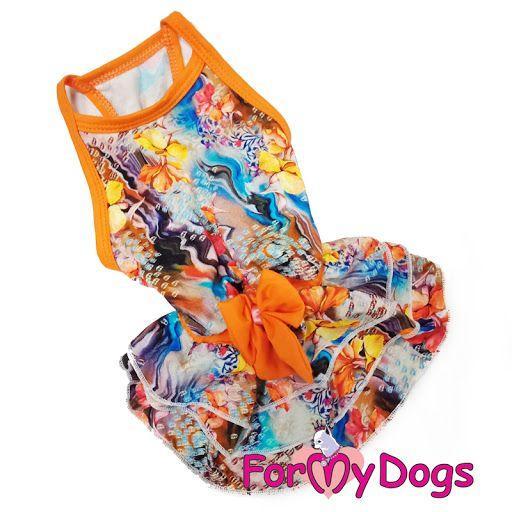 Платье с бантом ForMyDogs для собак (Оранжевый) - 16 р