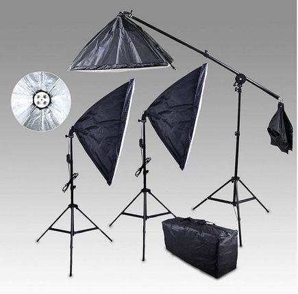 3 студийных софтбокса по 4 лампы в каждом софтбоксе 30W / 50см × 70см  со стойками Итого 12 ламп=360 Ватт, фото 2
