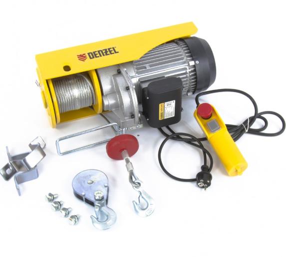 Тельфер электрический TF-1200, 1.2 т, 1800 Вт, высота 12 м, 8 м/мин// Denzel