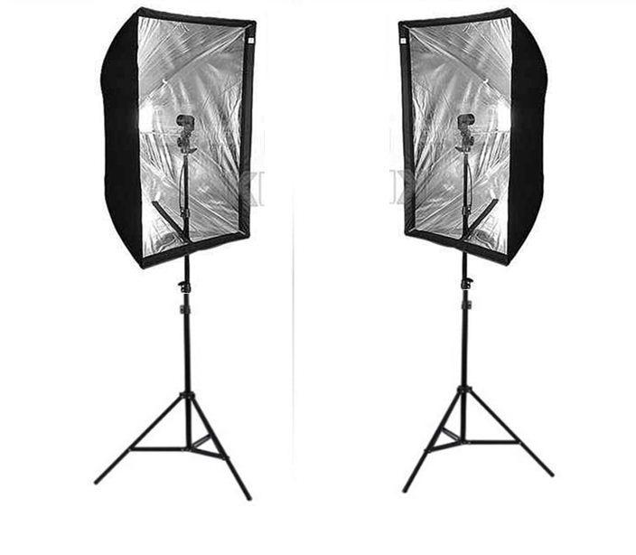 Софтбокса 60Х90 комплект из 2х на стойке с головкой с 2-мя LED лампами на 40 Ватт