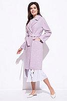 Пальто демисезонное, смесовая ткань, 44-52, цвет лиловый
