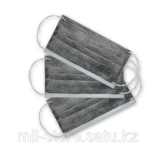 Маска угольная  трехслойная на резинках