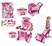 Игровой набор кухня на колёсиках Besty розовая, фото 1