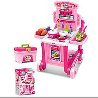 Игровой набор кухня на колёсиках Besty розовая