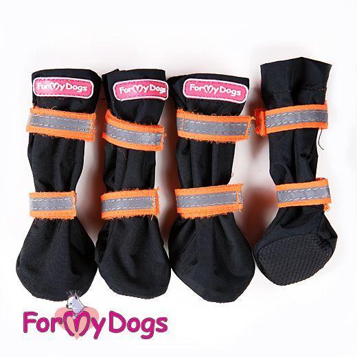 Сапоги водоотталкивающие ForMyDods для собак (Черно-оранжевые) - 3 р