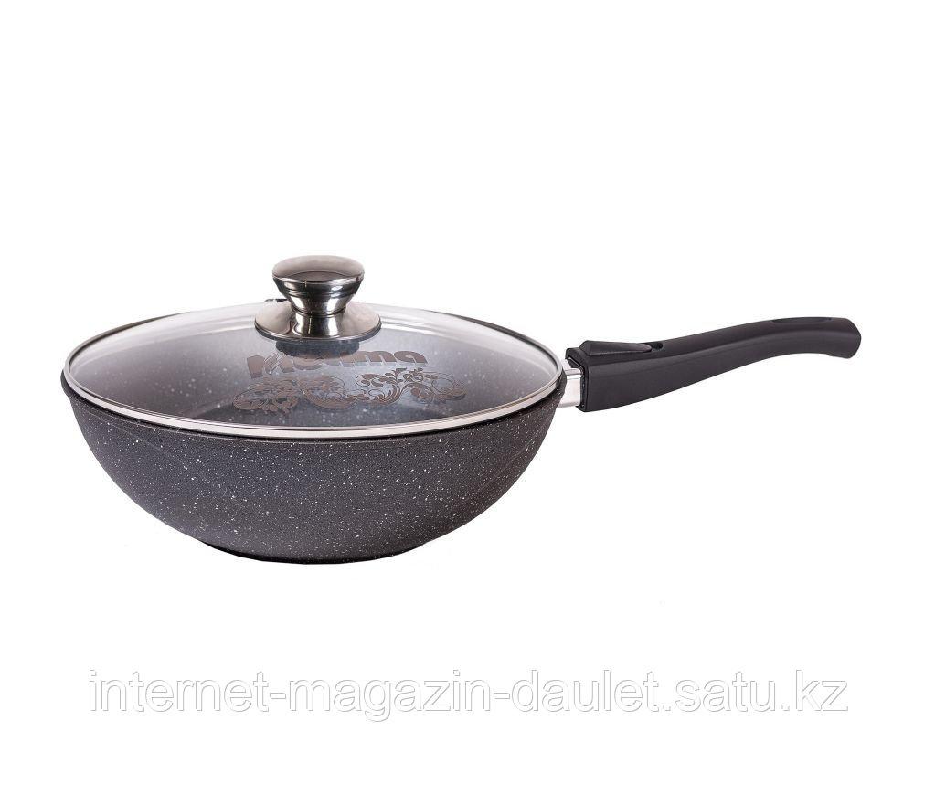 Сковорода ВОК 28см  Гранит с ручкой и крышкой