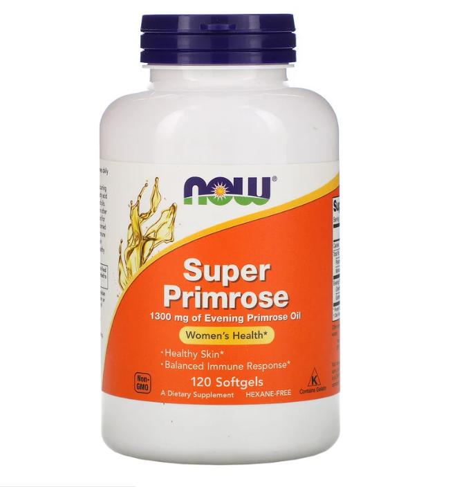 Now Foods, Супер примула, масло первоцвета вечернего, 1300 мг, 120 мягких таблеток
