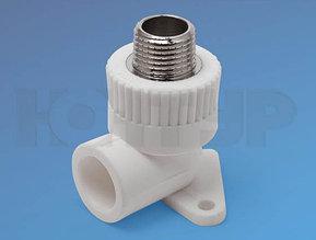 Угольник для полипролиленовых труб комбинированный  с креплением НР DD 20,25 -1/2 PPR Контур
