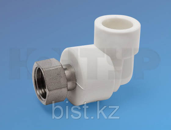 Угольник для труб с накидной гайкой и латуной втулкой D25-3/4 PPR Контур