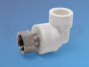 Угольник для полипролиленовых труб с накидной гайкой и латуной втулкой D20-1/2 PPR Контур