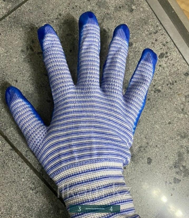 Перчатки виниловые с нитриловым покрытием в полоску