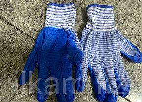 Перчатки виниловые с нитриловым покрытием в полоску, фото 2