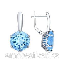Серьги из серебра с голубыми ситаллами   SOKOLOV 92021355
