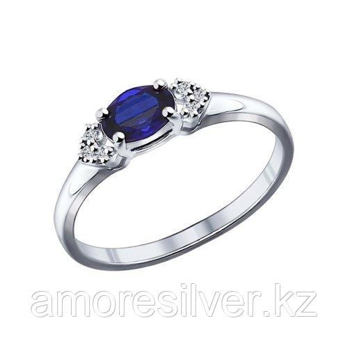 Кольцо из серебра с корундом сапфировым (синт.) и фианитами    SOKOLOV 88010010 размеры - 16 16,5 18 18,5 19