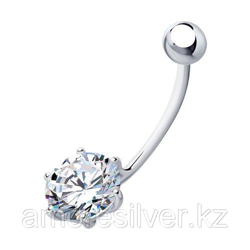 Пирсинг в пупок из серебра с фианитом  SOKOLOV 94060055