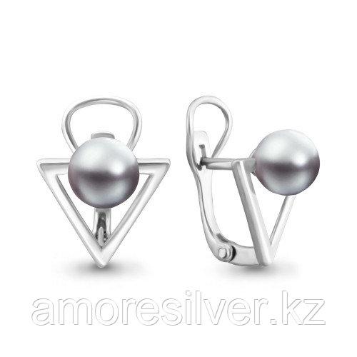 Серебряные серьги с жемчугом имитированным   Aquamarine 46329Э