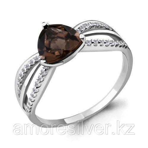 Кольцо из серебра с фианитом и раухтопазом   Aquamarine 6538301А