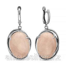 Серьги из серебра с кварцем розовым  Красная пресня 3337288К