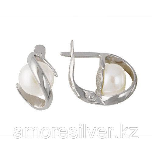 Серебряные серьги с жемчугом культ. Красная Пресня 3331556б