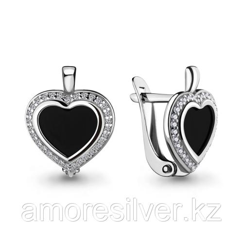 Серьги из серебра с фианитом и стеклом   Aquamarine 46655АЧ