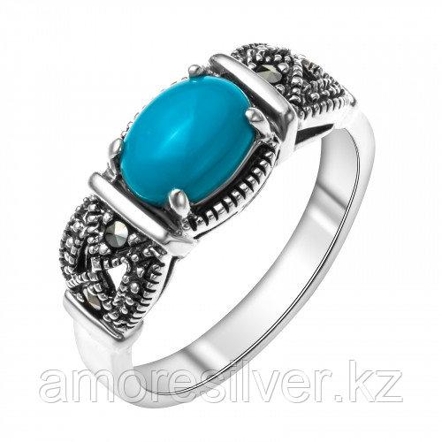 Серебряное кольцо с марказитом и бирюзой синт.    Teosa HR-342-TQ размеры - 17,5 18