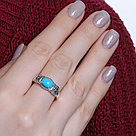 Серебряное кольцо с марказитом и бирюзой синт.    Teosa HR-342-TQ размеры - 17,5 18, фото 2