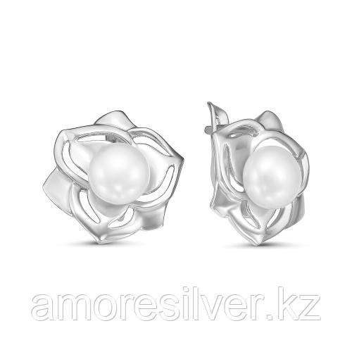 Серебряные серьги с жемчугом культ.   Красная Пресня 33310648Д