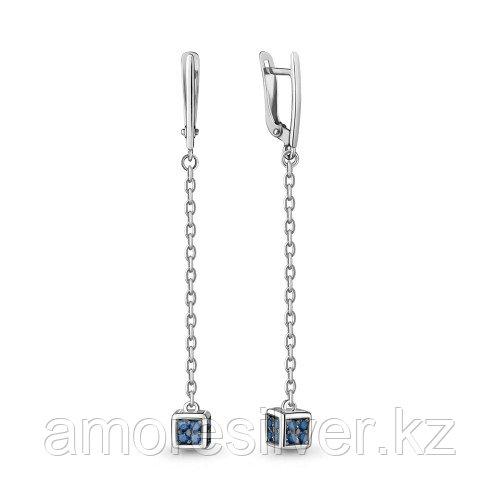 Серебряные серьги с наносапфиром синт.    Aquamarine 48004Б