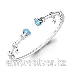 Серебряный браслет с фианитом и топазом   Aquamarine 7438505А размеры - 18