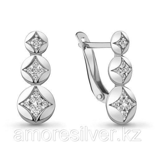 Серьги из серебра с фианитом   Aquamarine 48001А