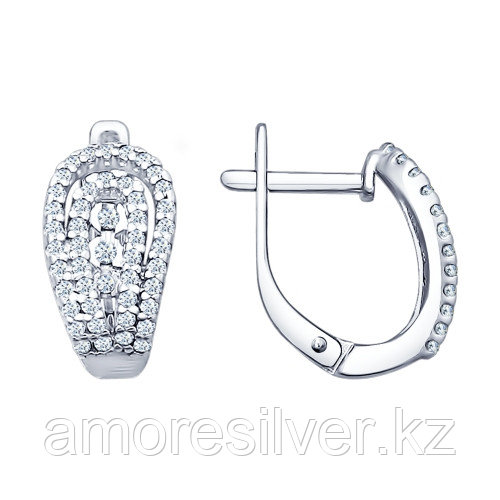 Серьги из серебра с фианитом   SOKOLOV 94021684