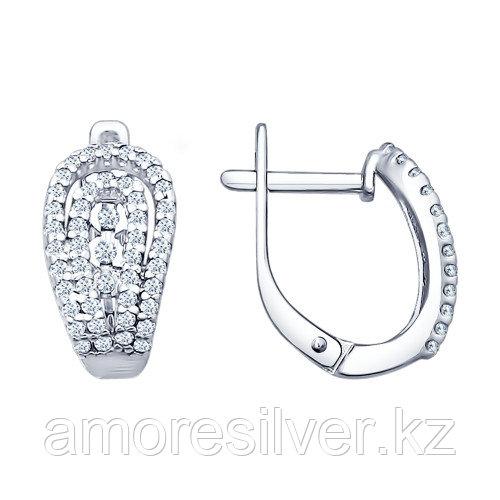 Серьги SOKOLOV серебро с родием, фианит, дорожка 94021684